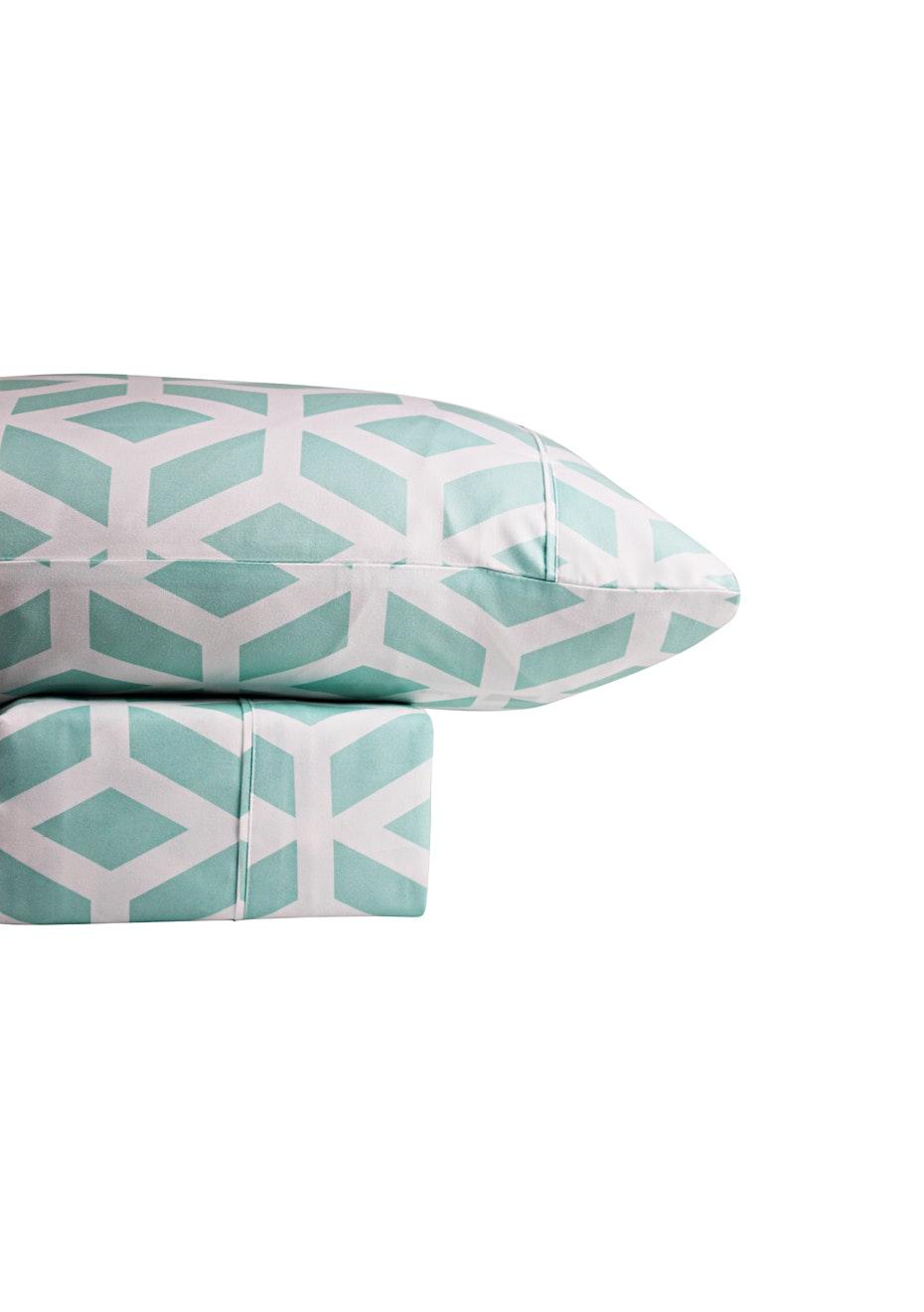 Thermal Flannel Sheet Sets - Manhattan Design - Ice - King Bed