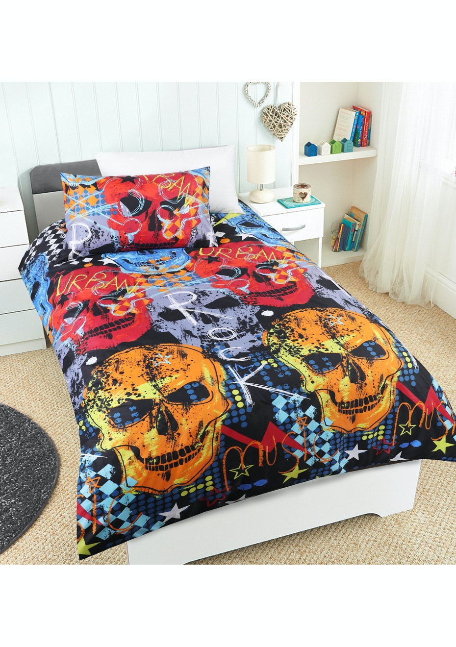 Rock Star Glow in the Dark Quilt Cover Set - Double Bed