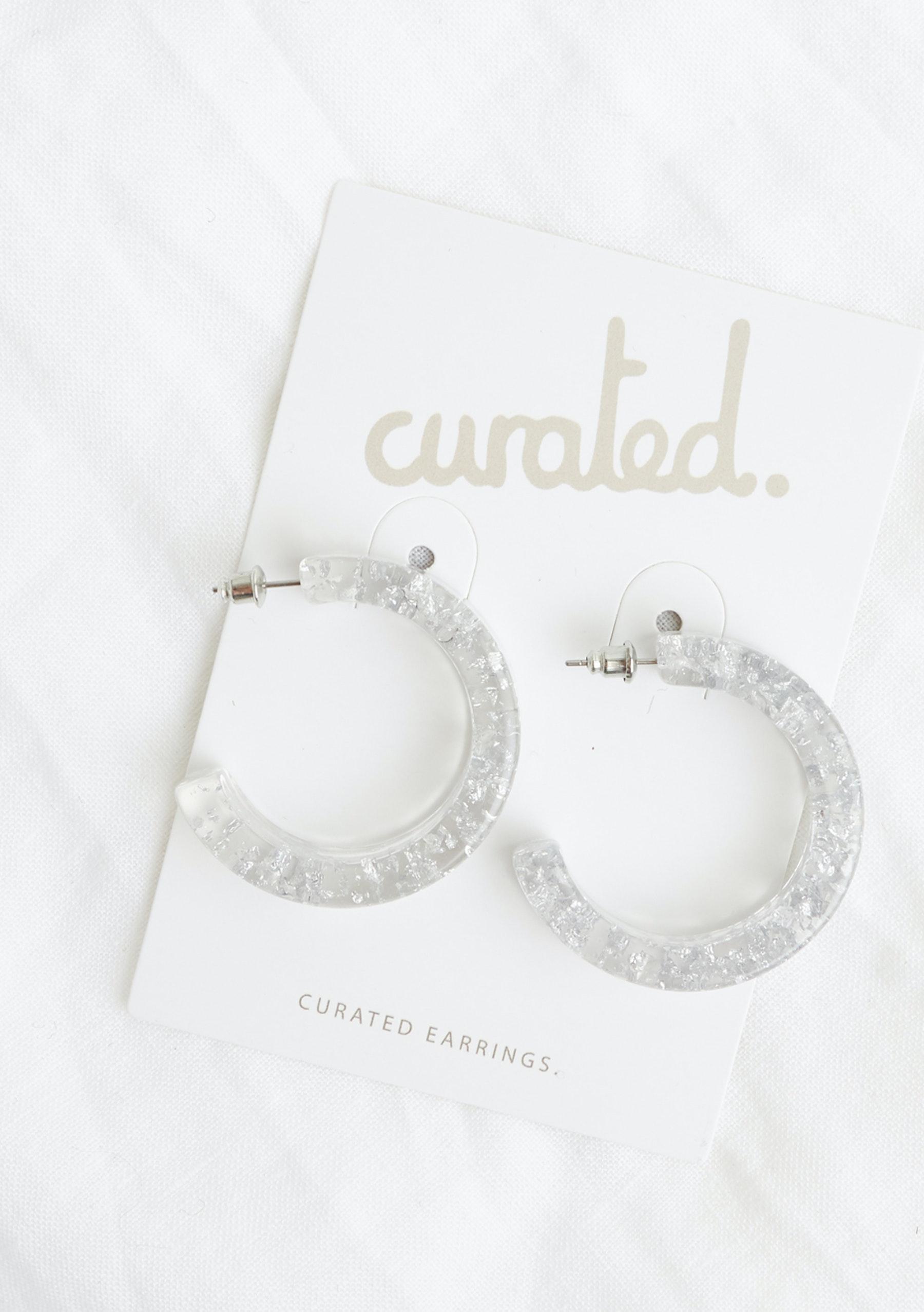 Curated Hon Hoop Earrings Silver Flake Curated Earrings Edit