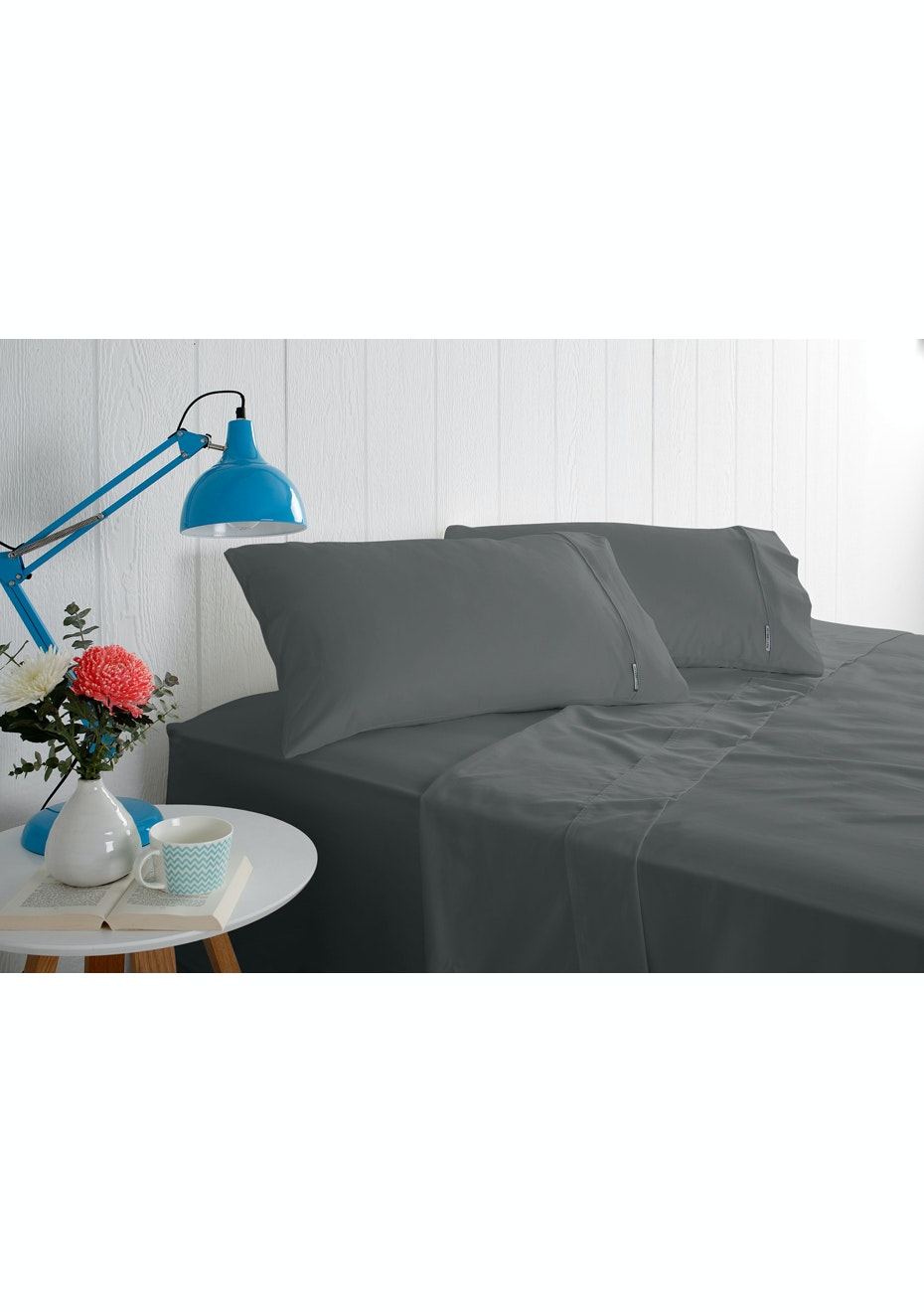 Odyssey Living 1000 Thread Count – Cotton Rich Sheet Sets - Charcoal - Mega King Bed
