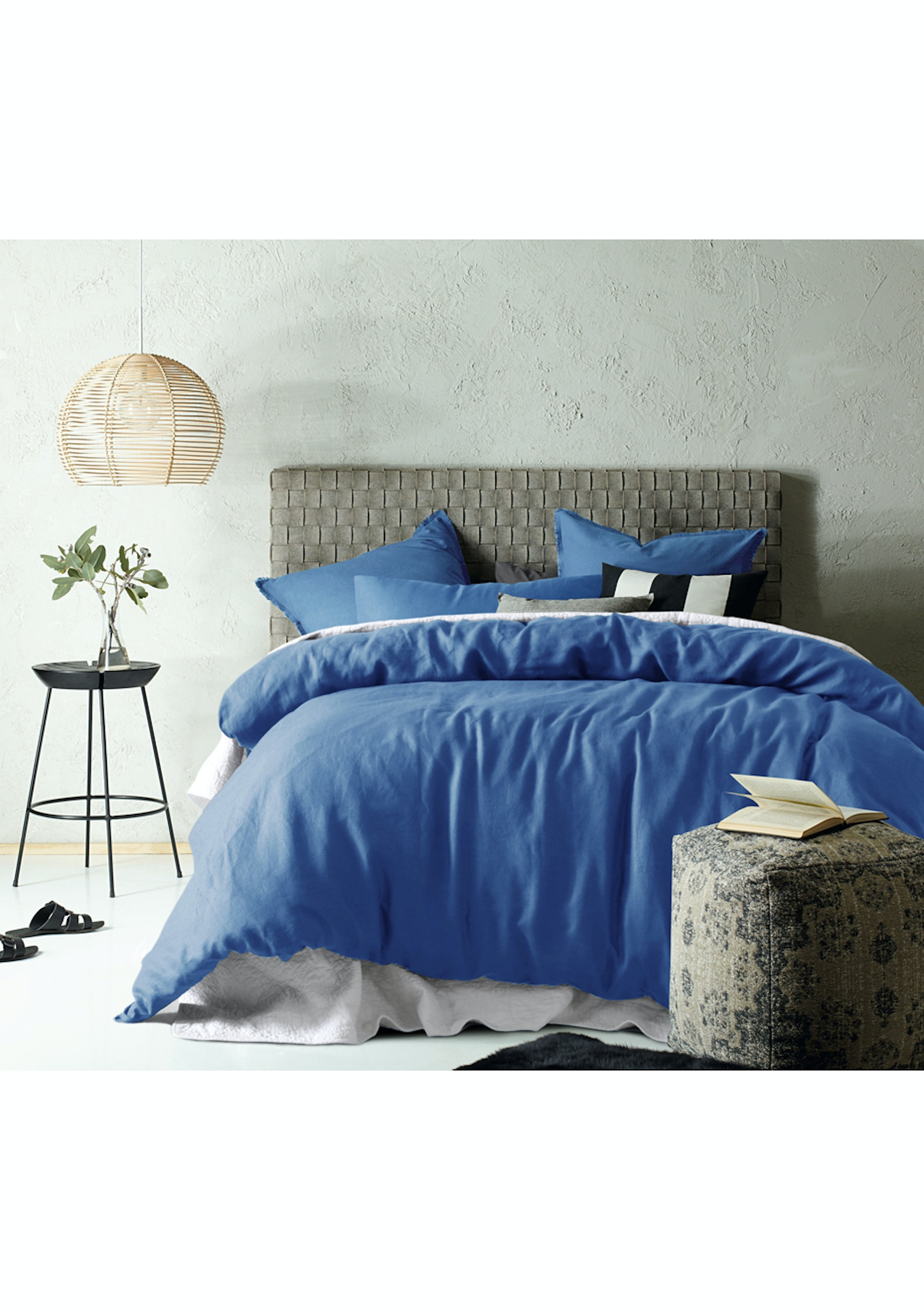 Accessorize Double Bed Ocean Blue Linen Cotton Quilt Cover Set