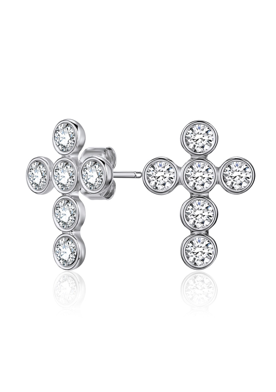 Cross Earrings Embellished with Crystals from Swarovski