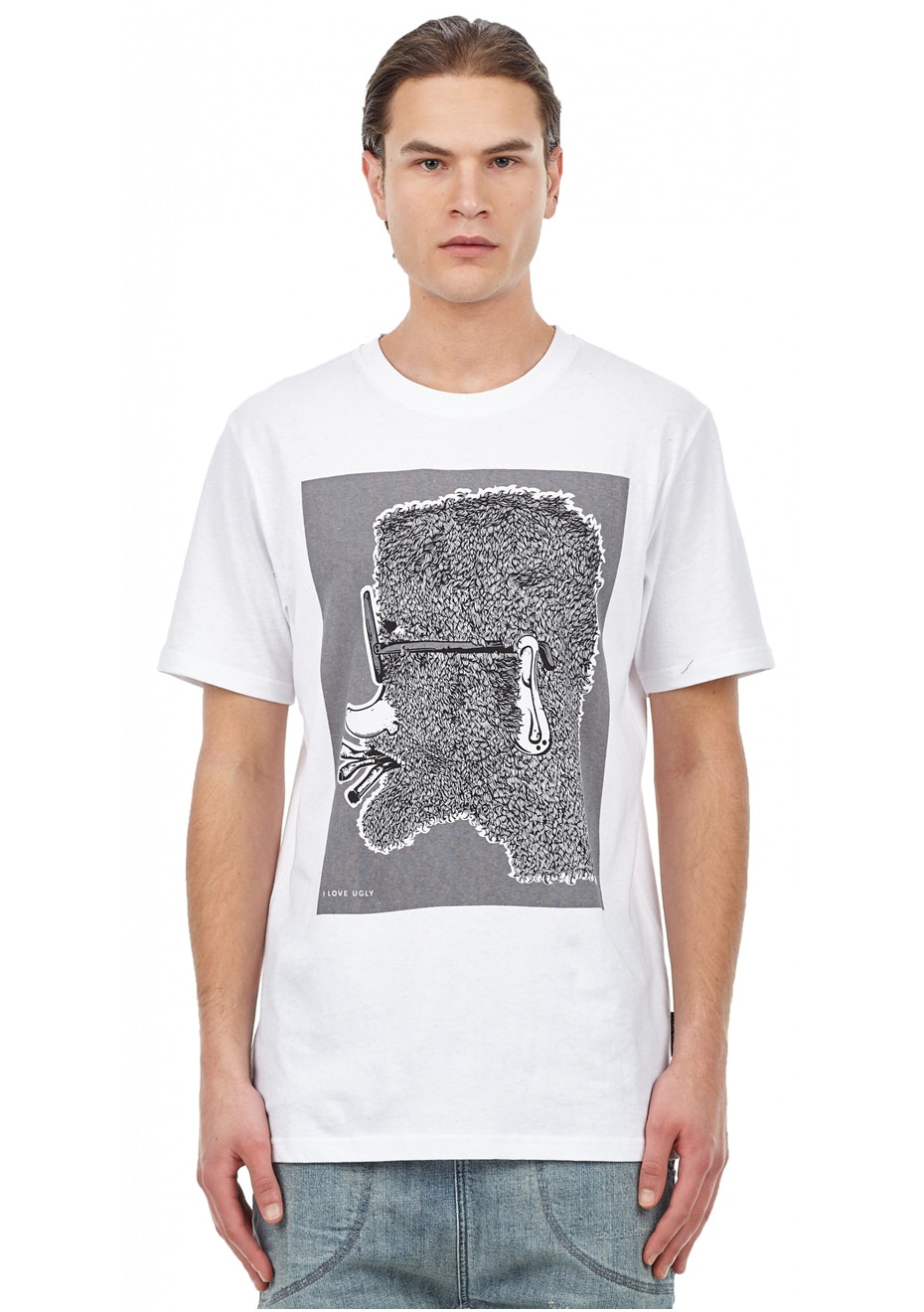 I Love Ugly - Hairy Face Tee - White
