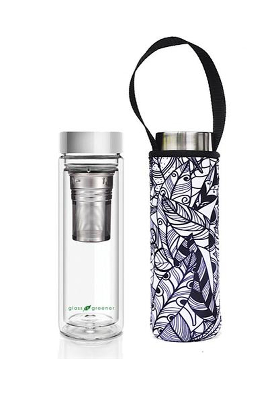 BBBYO - Glass Is Greener double-wall tea flask 500 ml + Carry Pouch (Feather Print) -500 ml