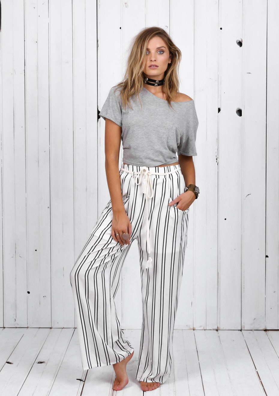 Madison - OPHELIA STRIPE PANTS - WHITE STRIPE