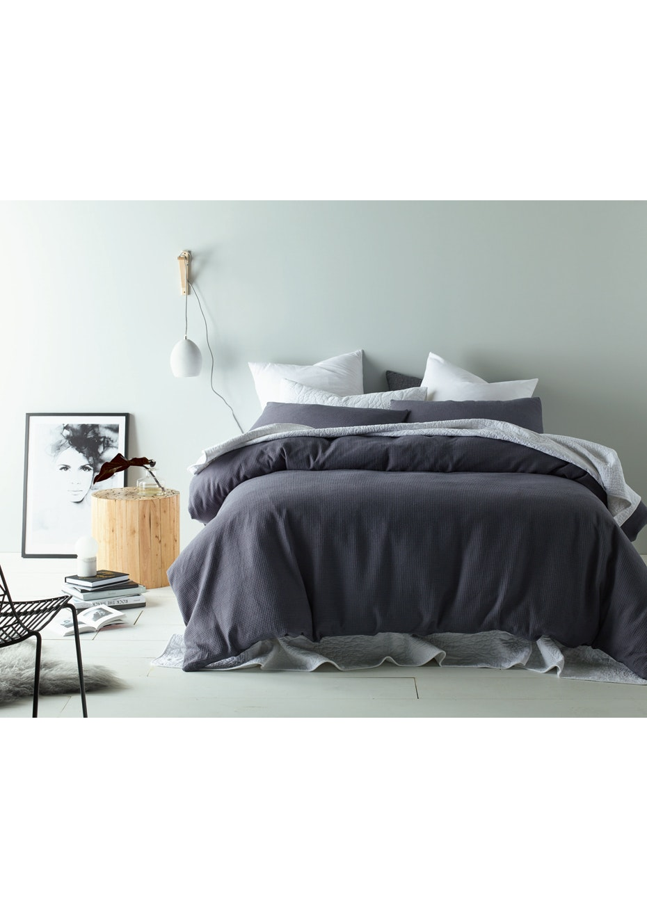 Slate Waffle Linen Cotton Quilt Cover Set- Queen Bed