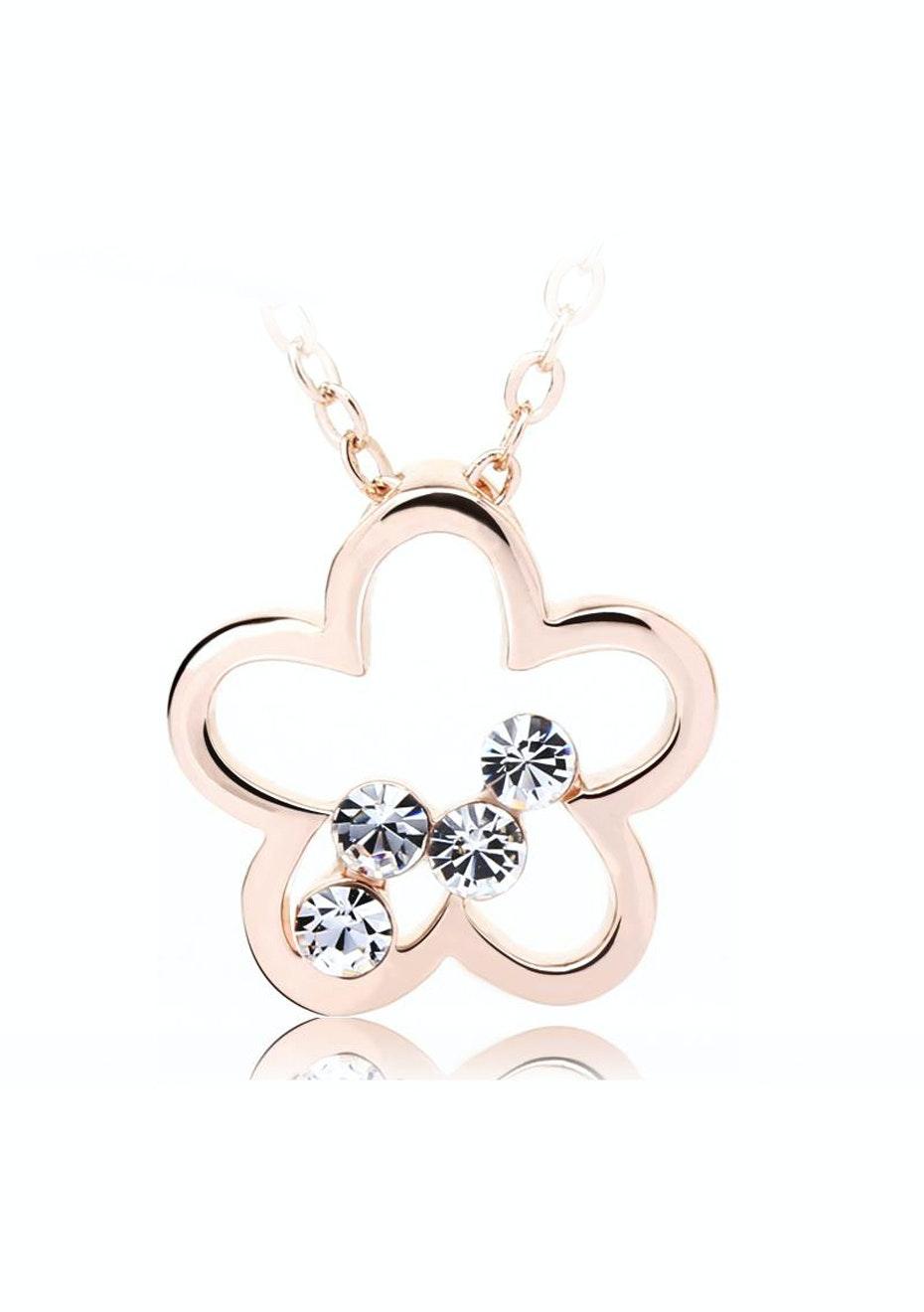Clover Kepper Pendant Necklace Ft Swarovski Elements -RG