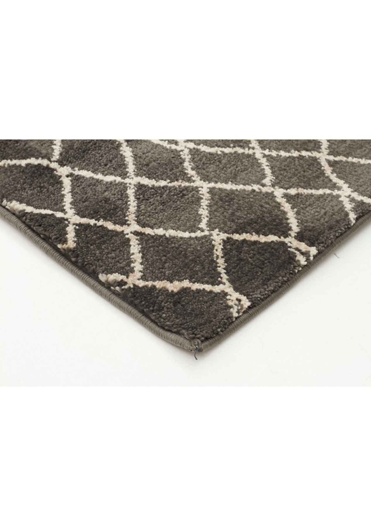 Grey power loomed wool like finish easy care modern rug for Easy rugs