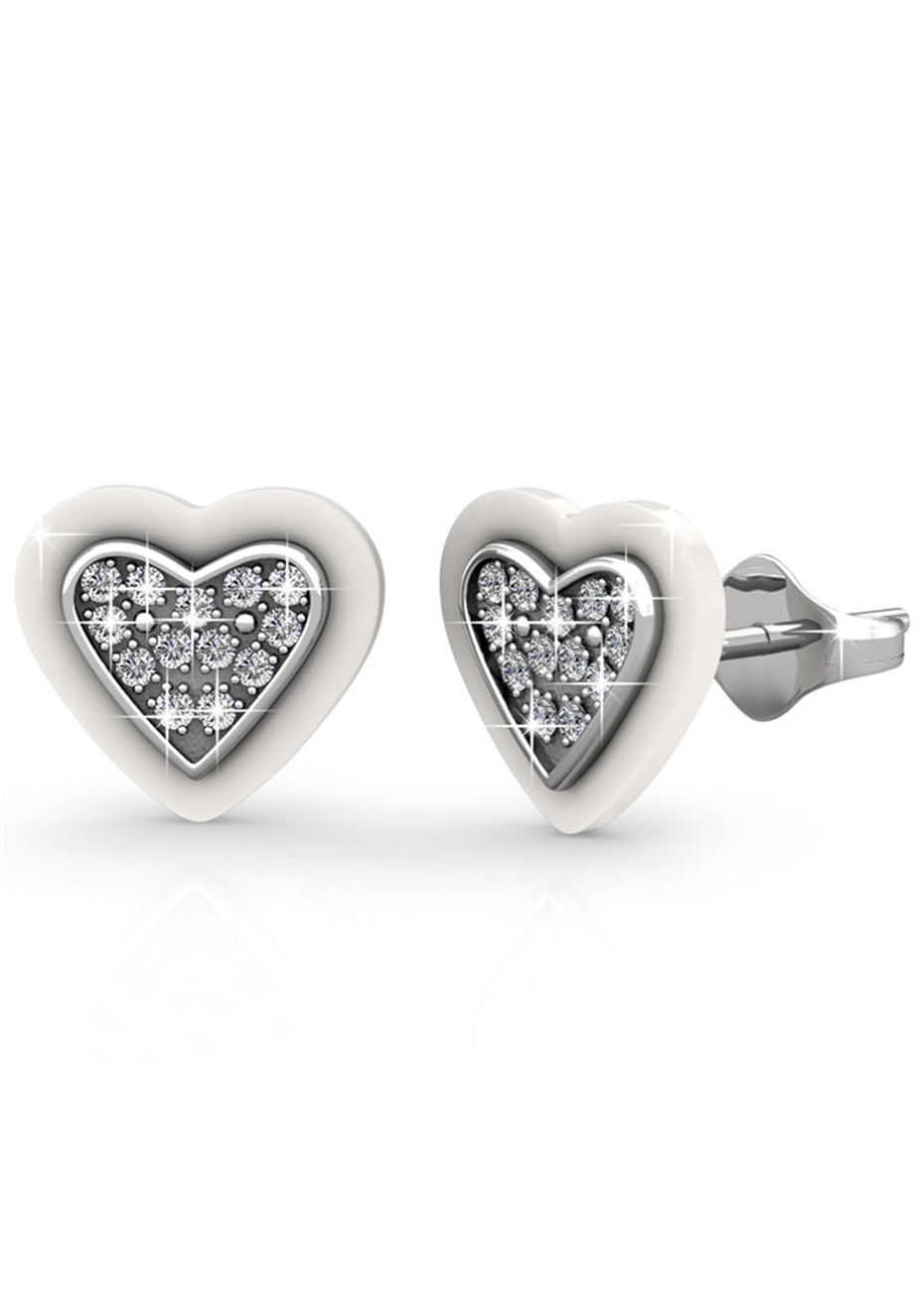 White and White Gold Earrings Embellished with Crystals from Swarovski
