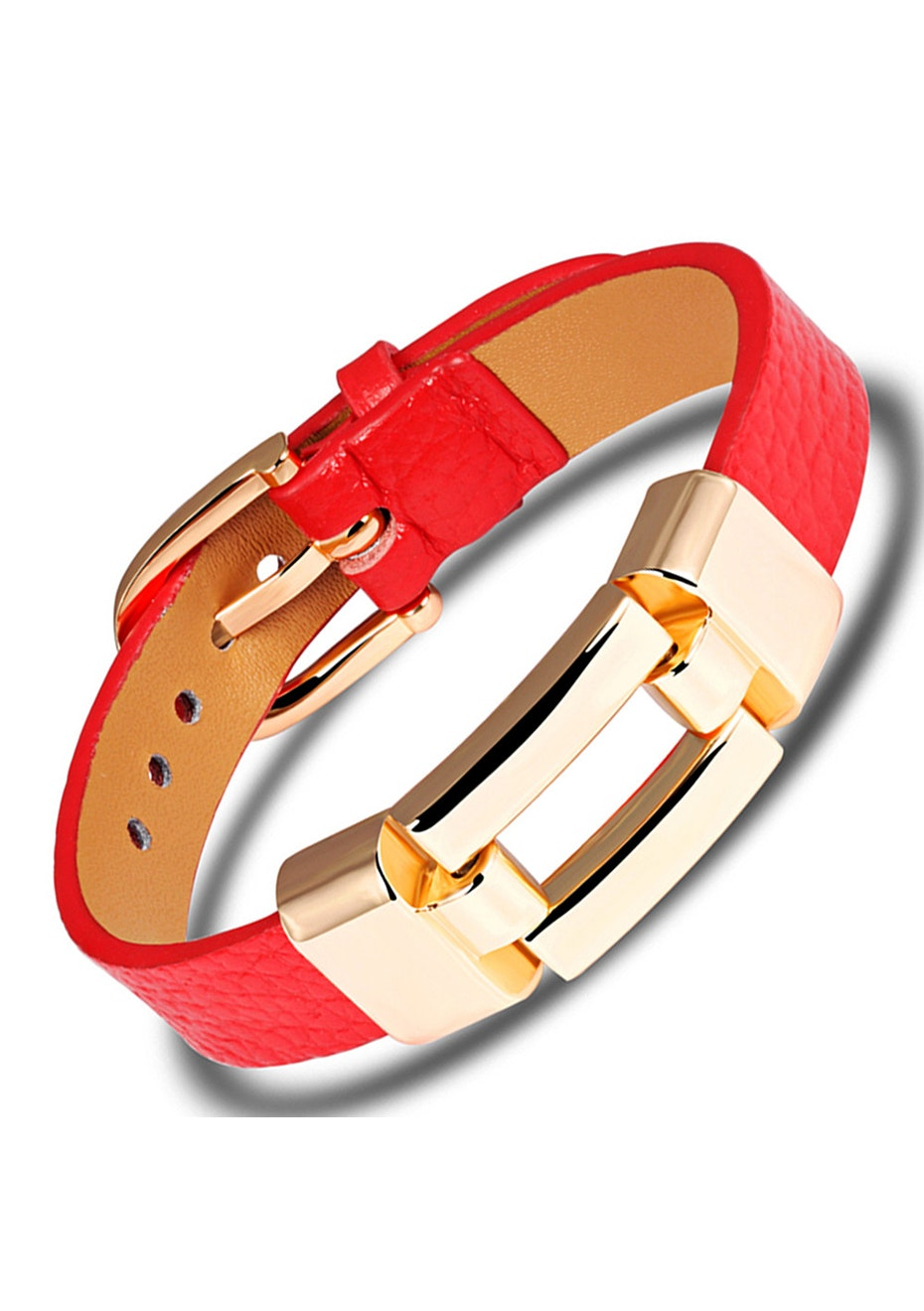 Genuine Leather Buckle Bracelet | Red