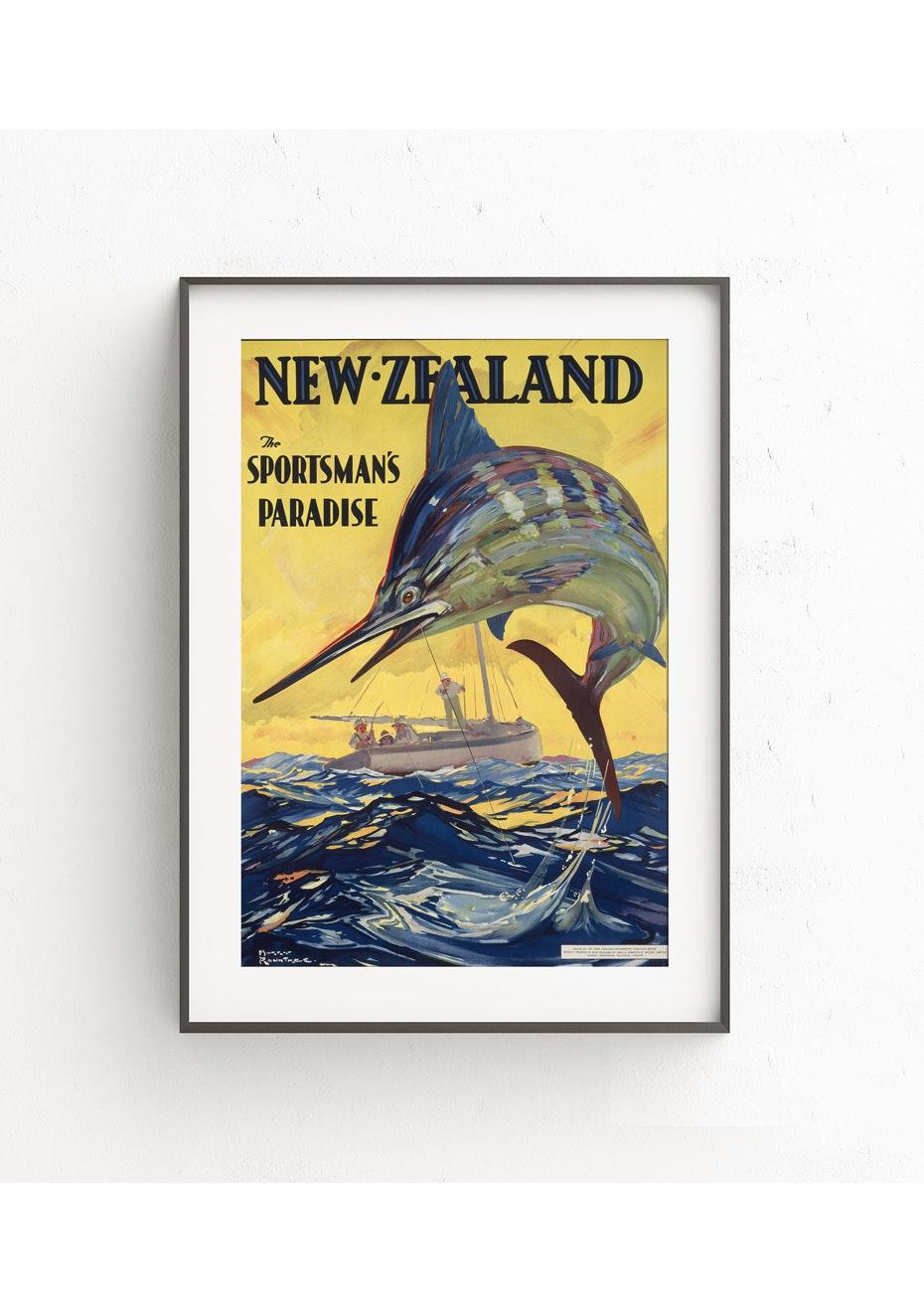 Sportsman's Paradise Vintage Tourist Print - A2
