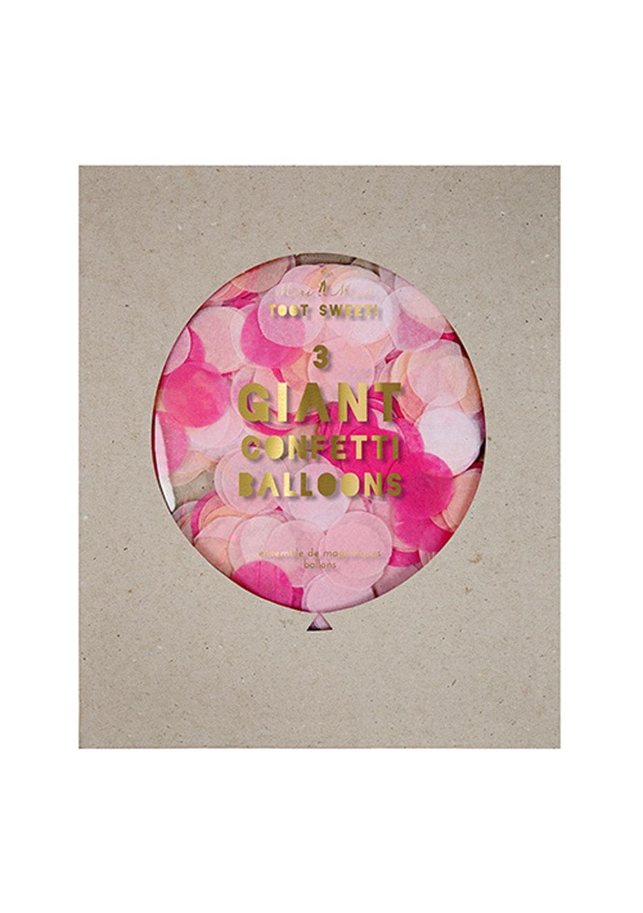 Meri Meri - Giant Confetti Balloons Pink Set of 3