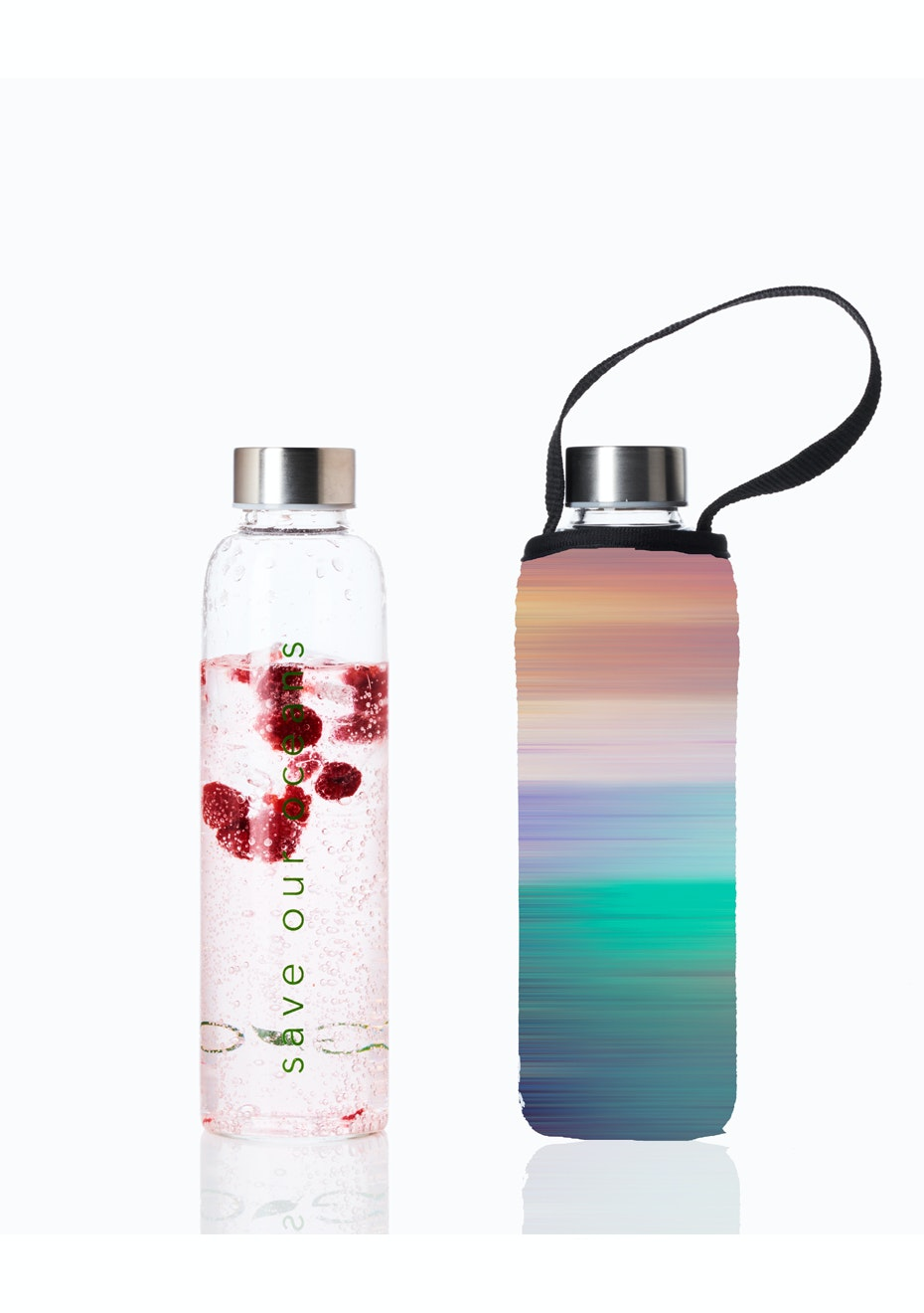 BBBYO - Glass Is Greener Bottle 570 ml + Carry Cover (Peace Print) - 570 ml
