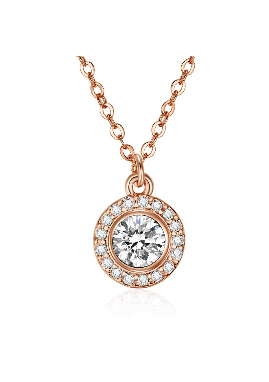 Pendant Necklace Embellished with Crystals from Swarovski -Rose Gold