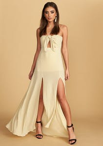 ac7394fb34f9ad Lioness - The Adrianne Strapless Maxi Dress - Champagne