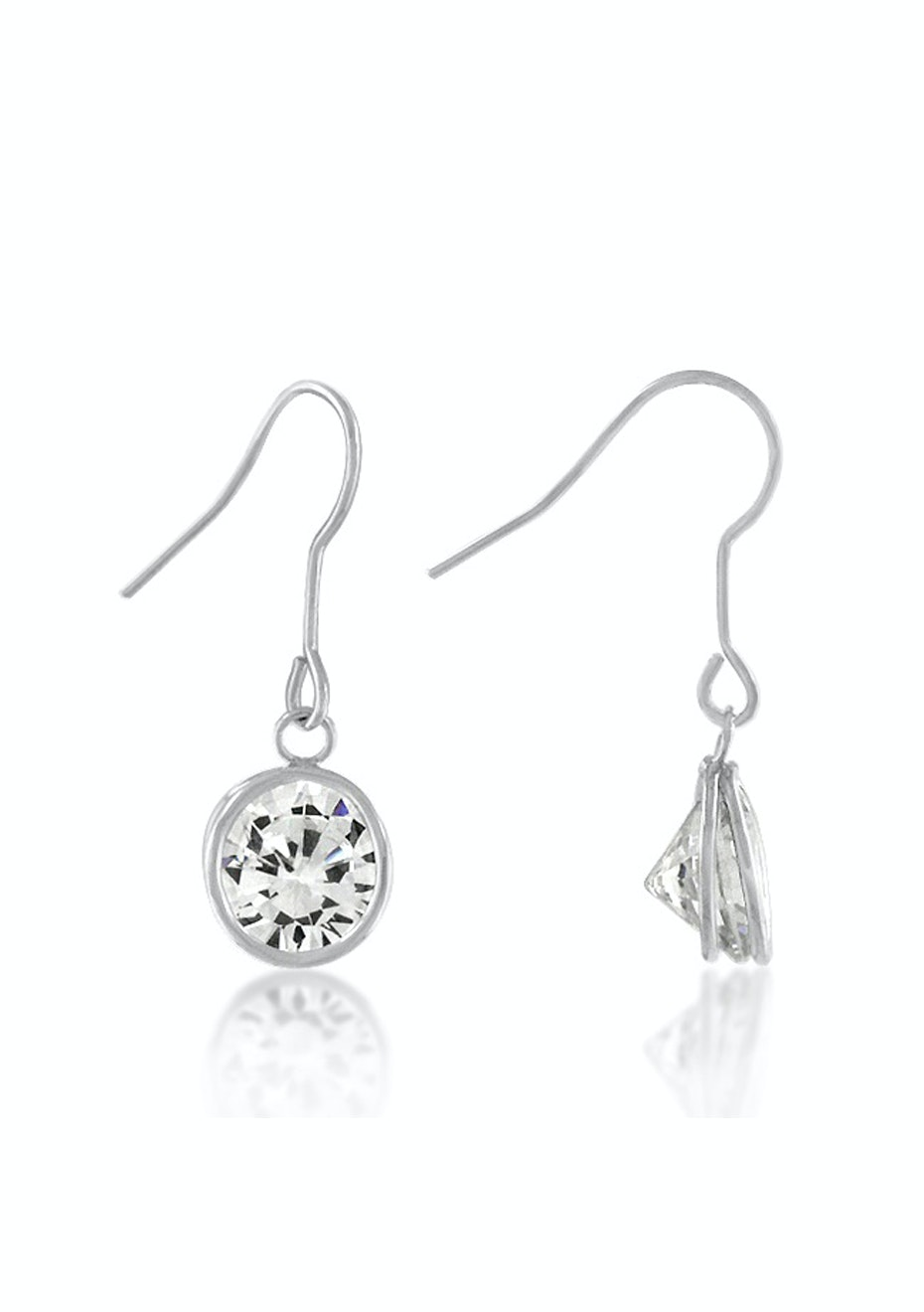 Classic Drop Earrings in White Gold