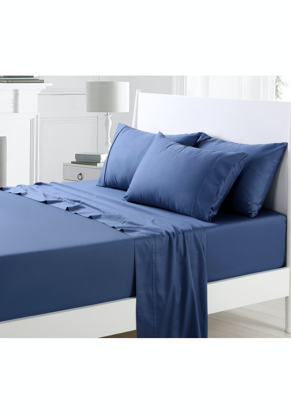 Monaco Blue 300TC Cotton Sateen Sheet Set - Queen Bed