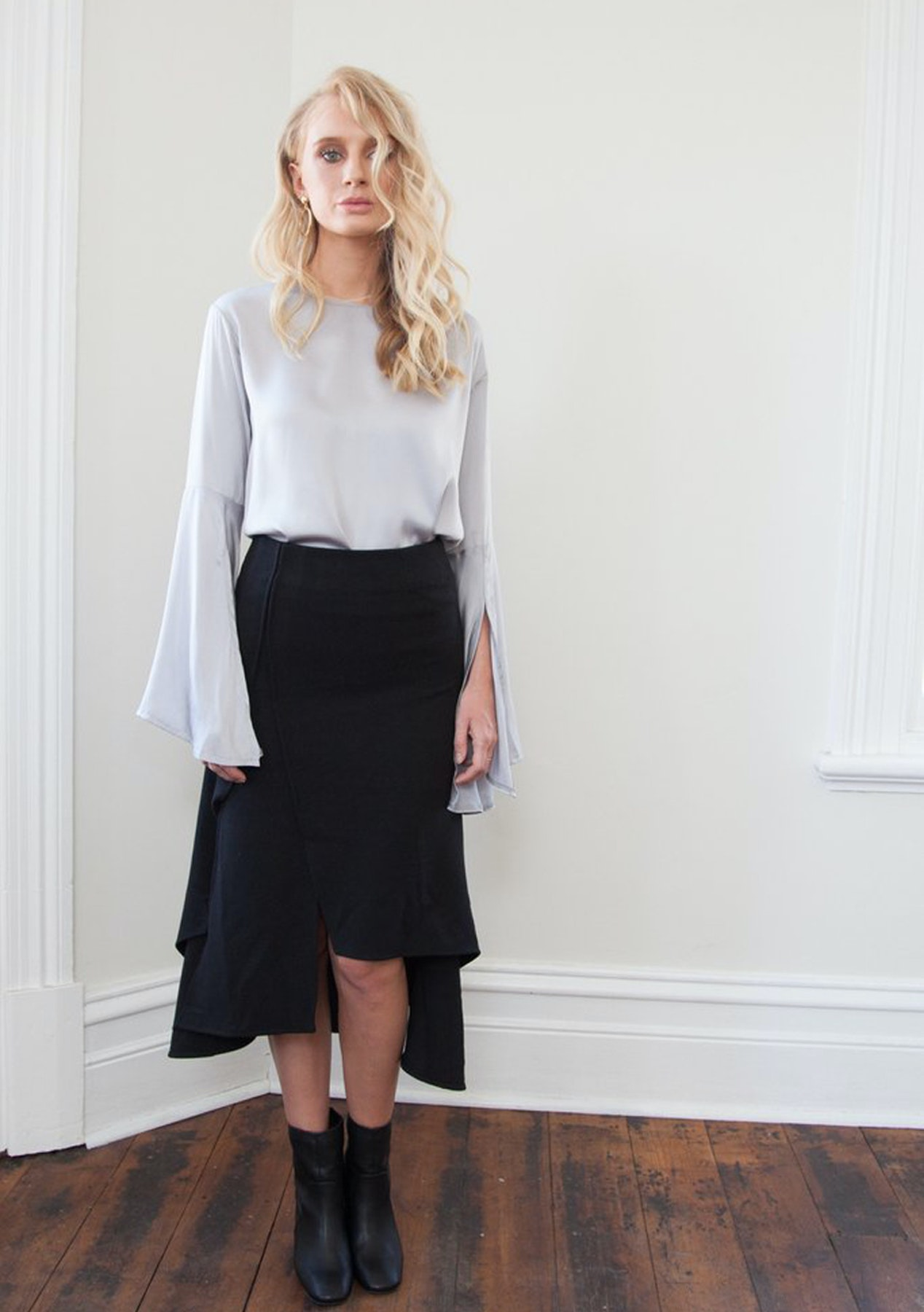 f006695e27 Hello Parry - Angela Split Fluted Skirt - Black - Last ones Left - Onceit