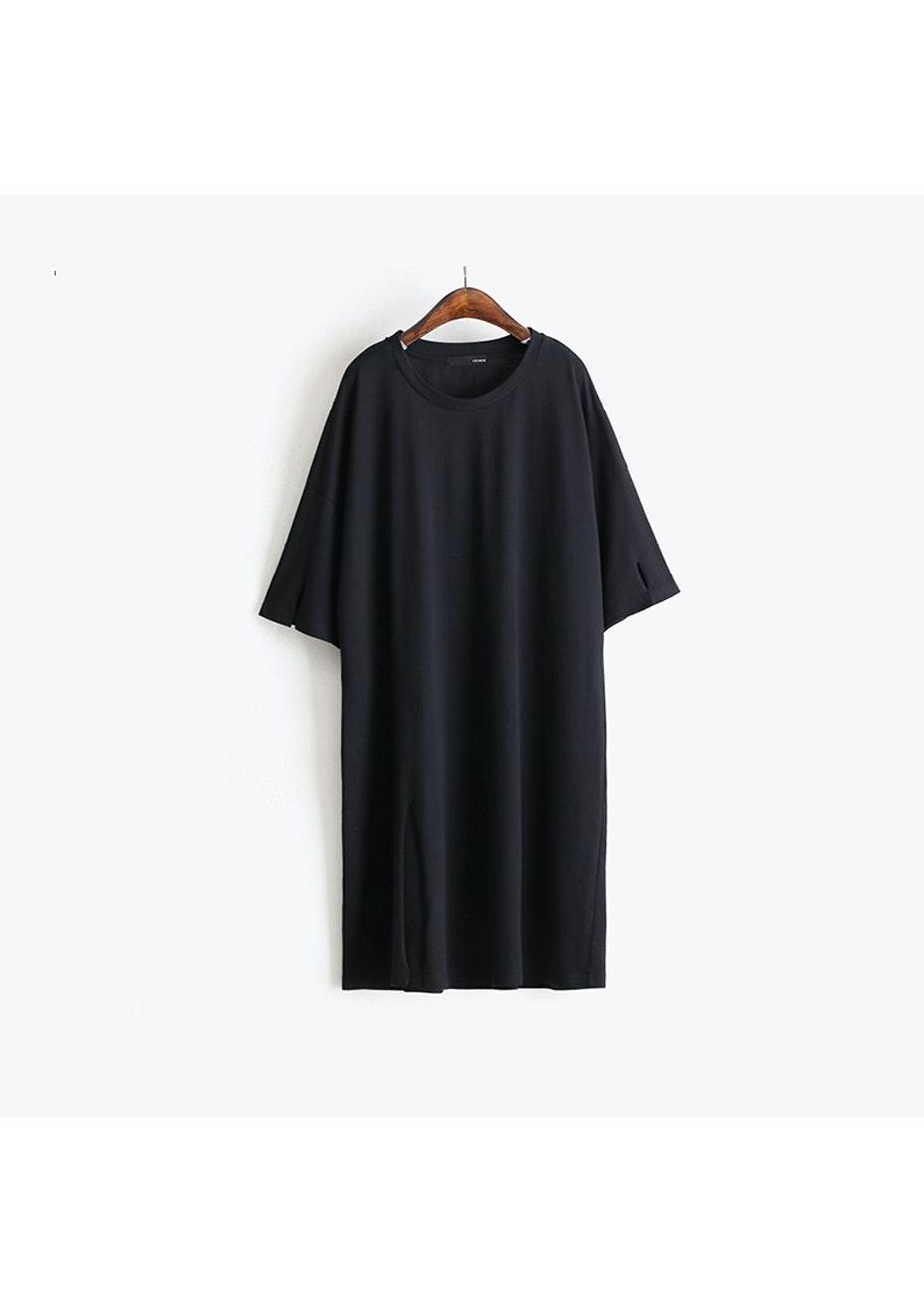 Avery T Shirt Split Tunic  - Black