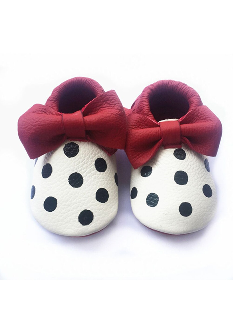 Baby  Leather Shoes - Red / White / Black Dot