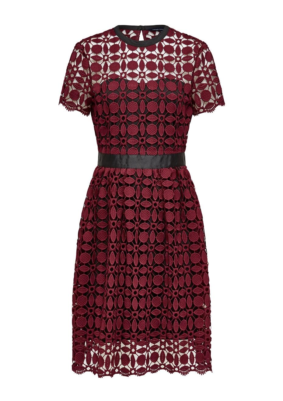 French Connection - Geo Lace Midi Dress - Bordeaux