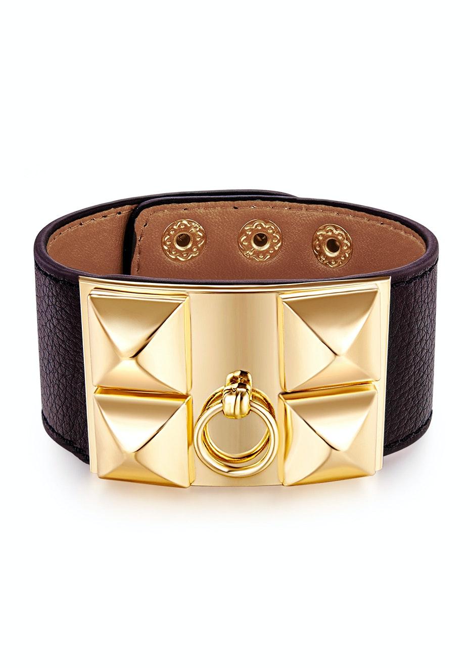 Genuine Cow Leather Studded Bracelet -BLK