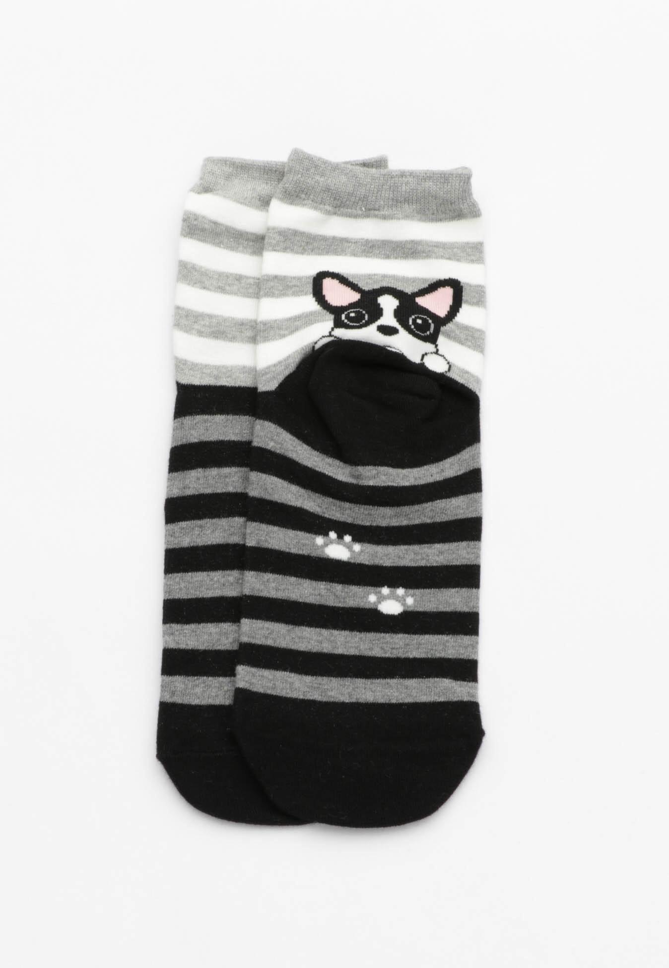 Peek a Boo Puppy Socks - Stripe