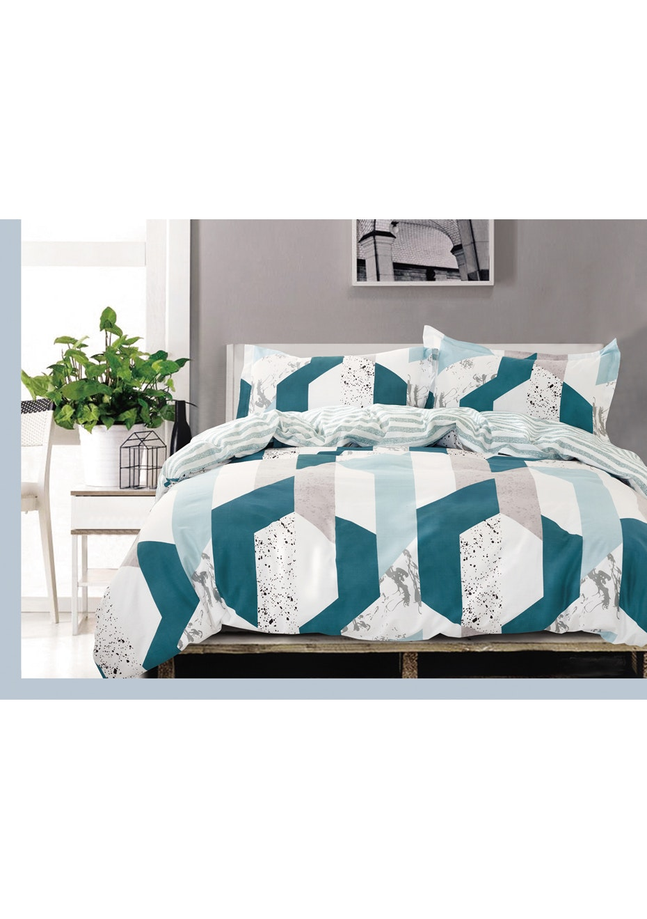 Marble Cove Quilt Cover Set - Reversible Design - 100% Cotton - King Bed