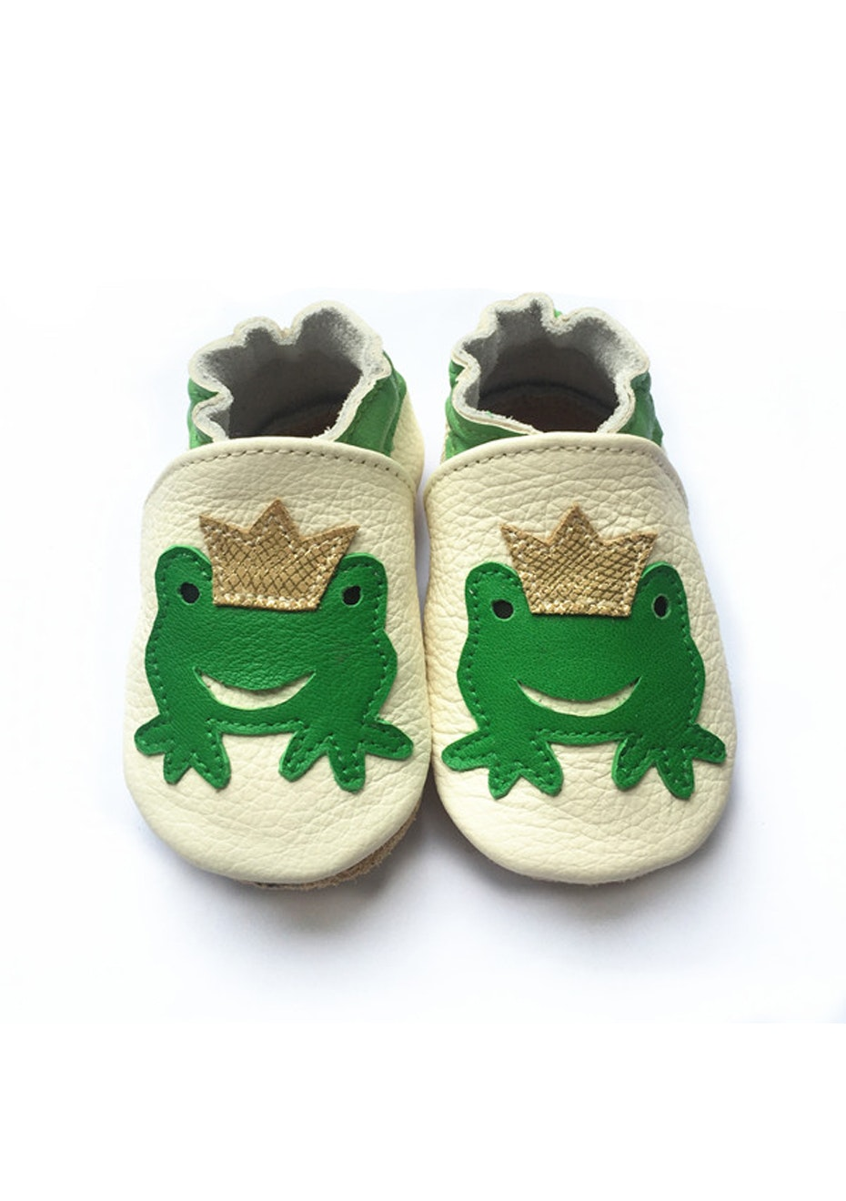 Baby  Leather Shoes - Cream / Frog