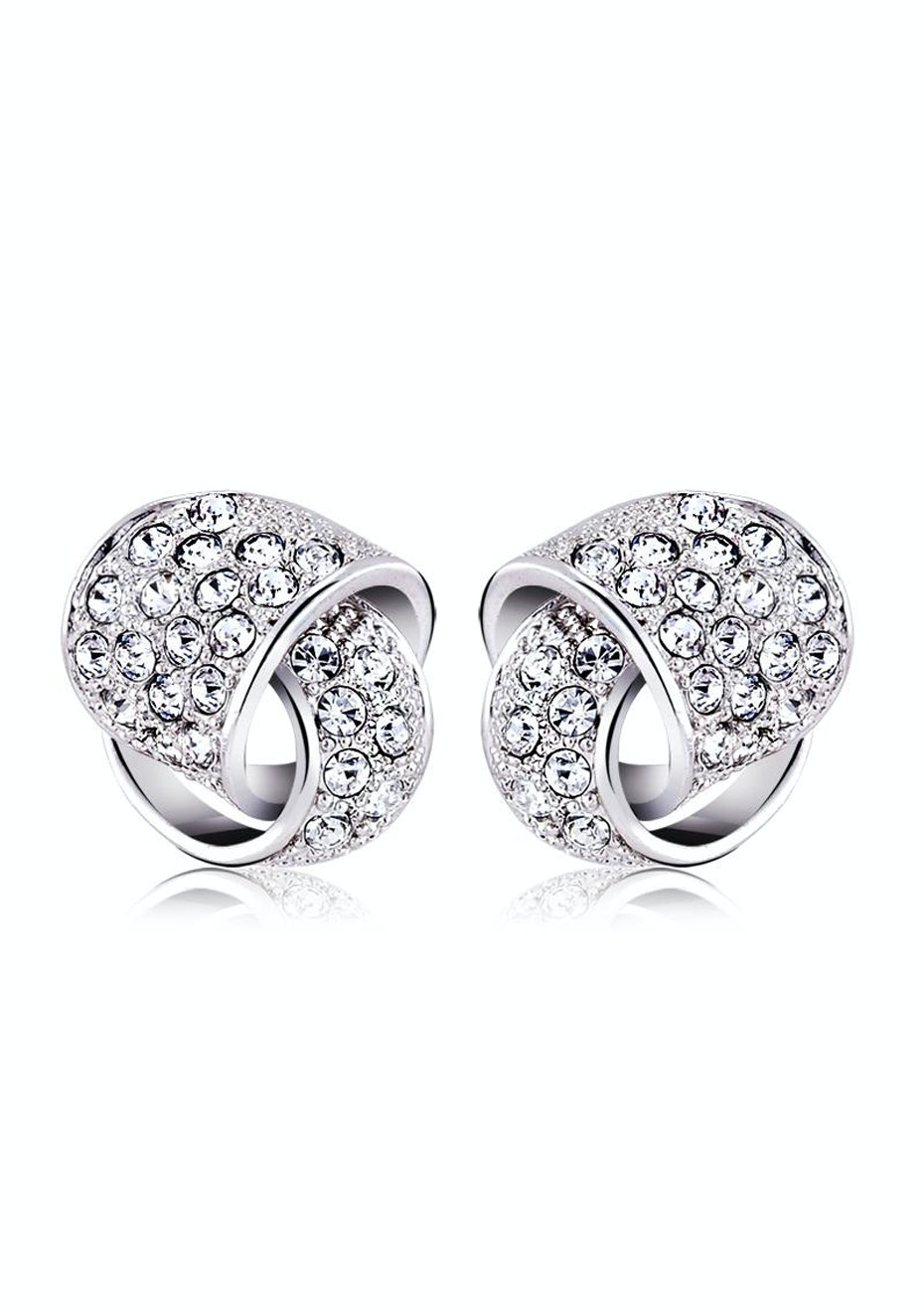 Ribbon Stud Earrings Embellished with Crystals from Swarovski