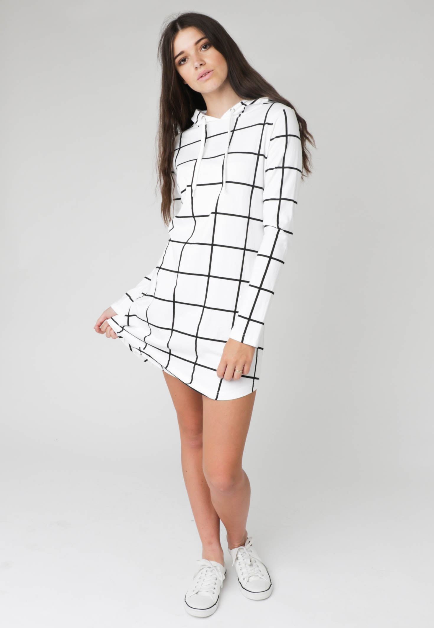 Silent Theory - Grid L/S Hoody Dress - White with black grid