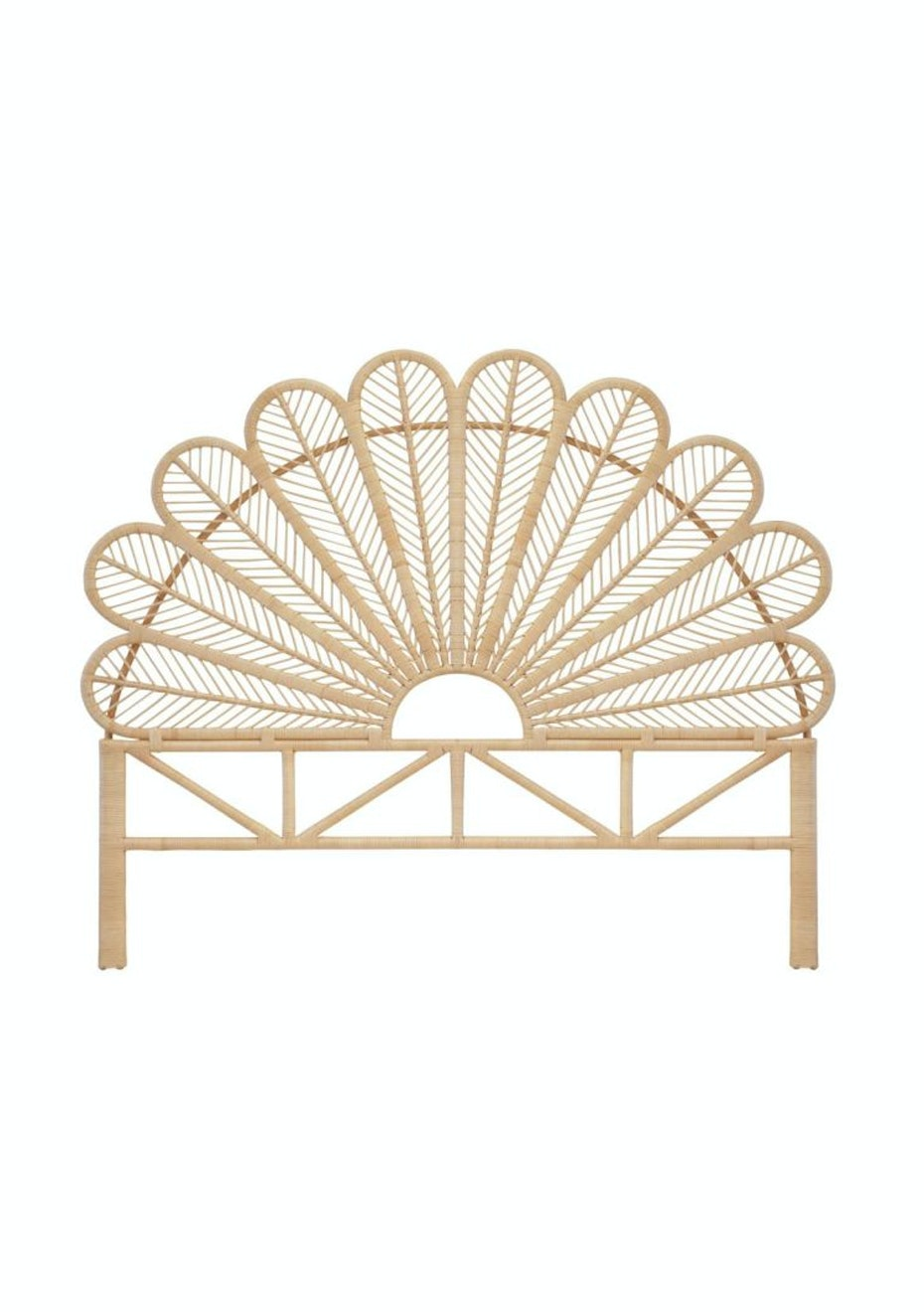 Peacock Queen Rattan Headboard Natural Best Selling Rattan Home Onceit