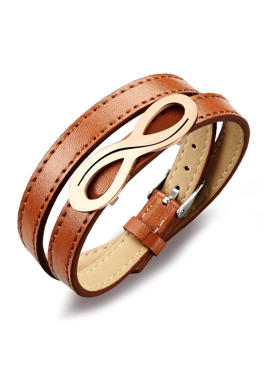 Genuine Leather Infinite Wrap Bracelet | Brown