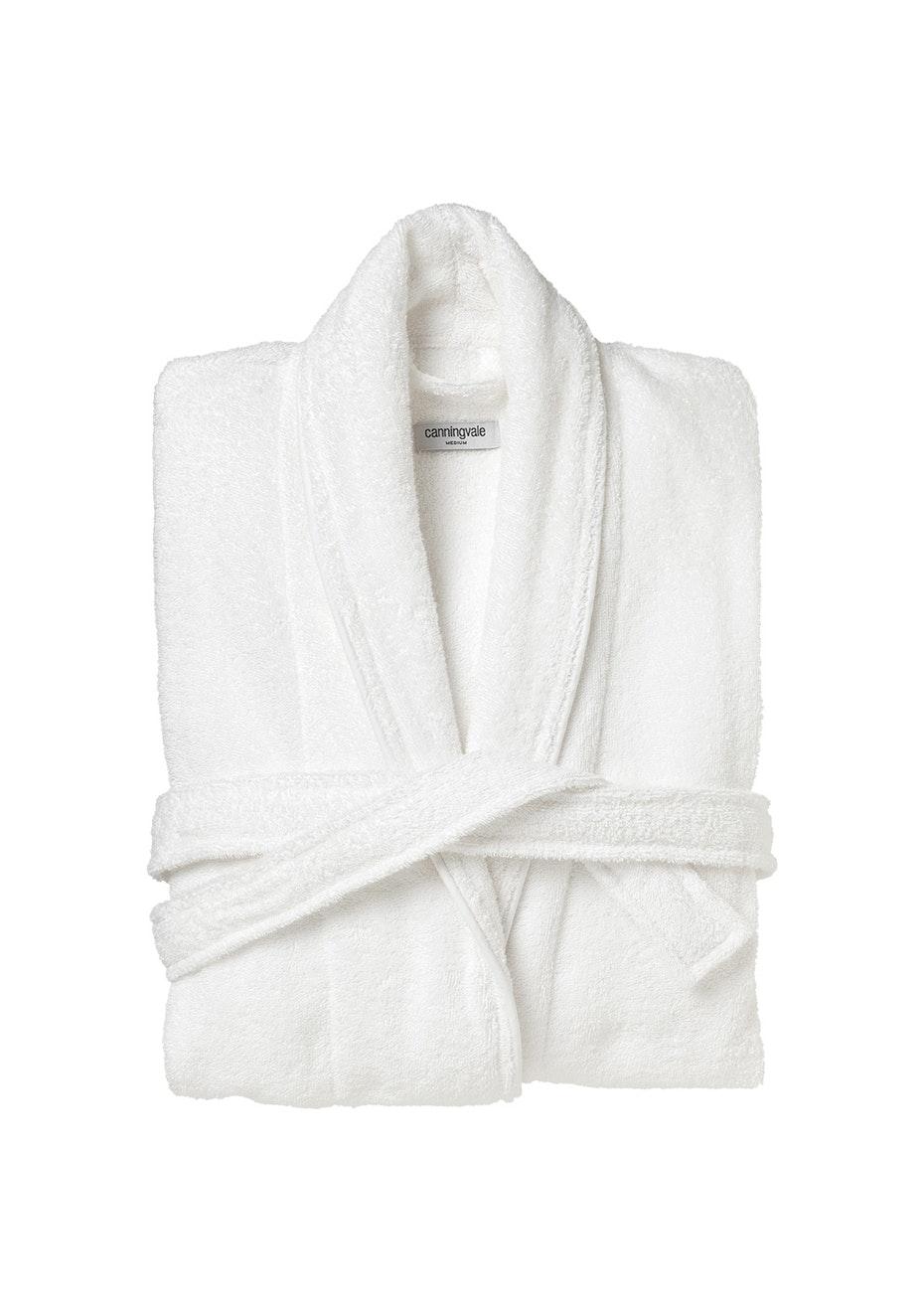 Large Classic Cotton Terry Bathrobe - White.