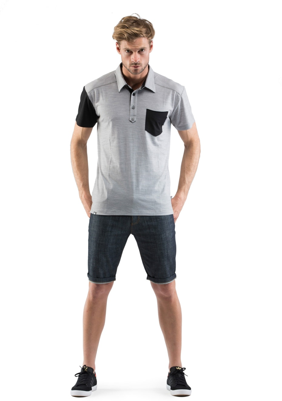 MONS ROYALE - Mens - Not Your Dads Polo - Grey Marl / Black
