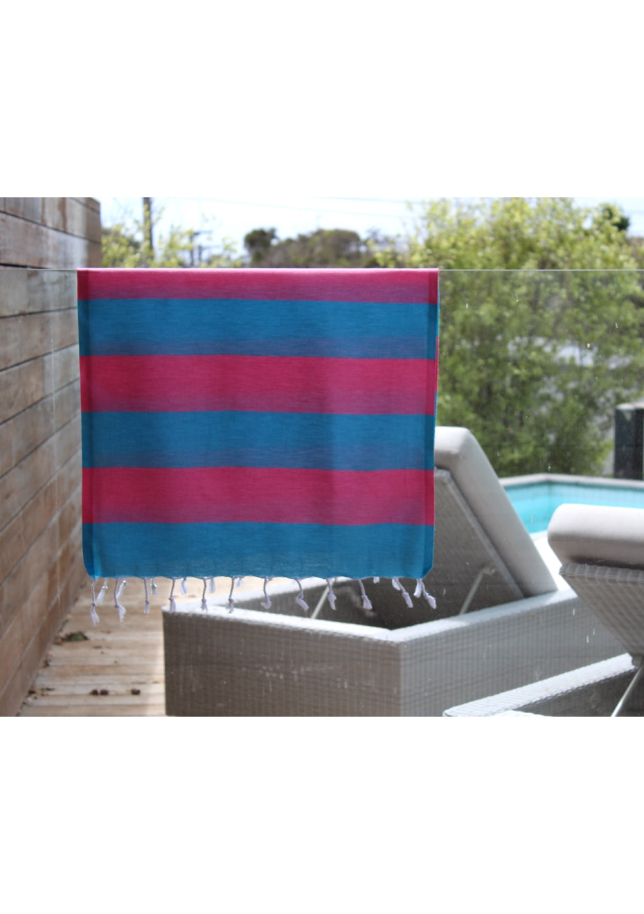 Tenedos Turquoise & Hot Pink Small Turkish Towel