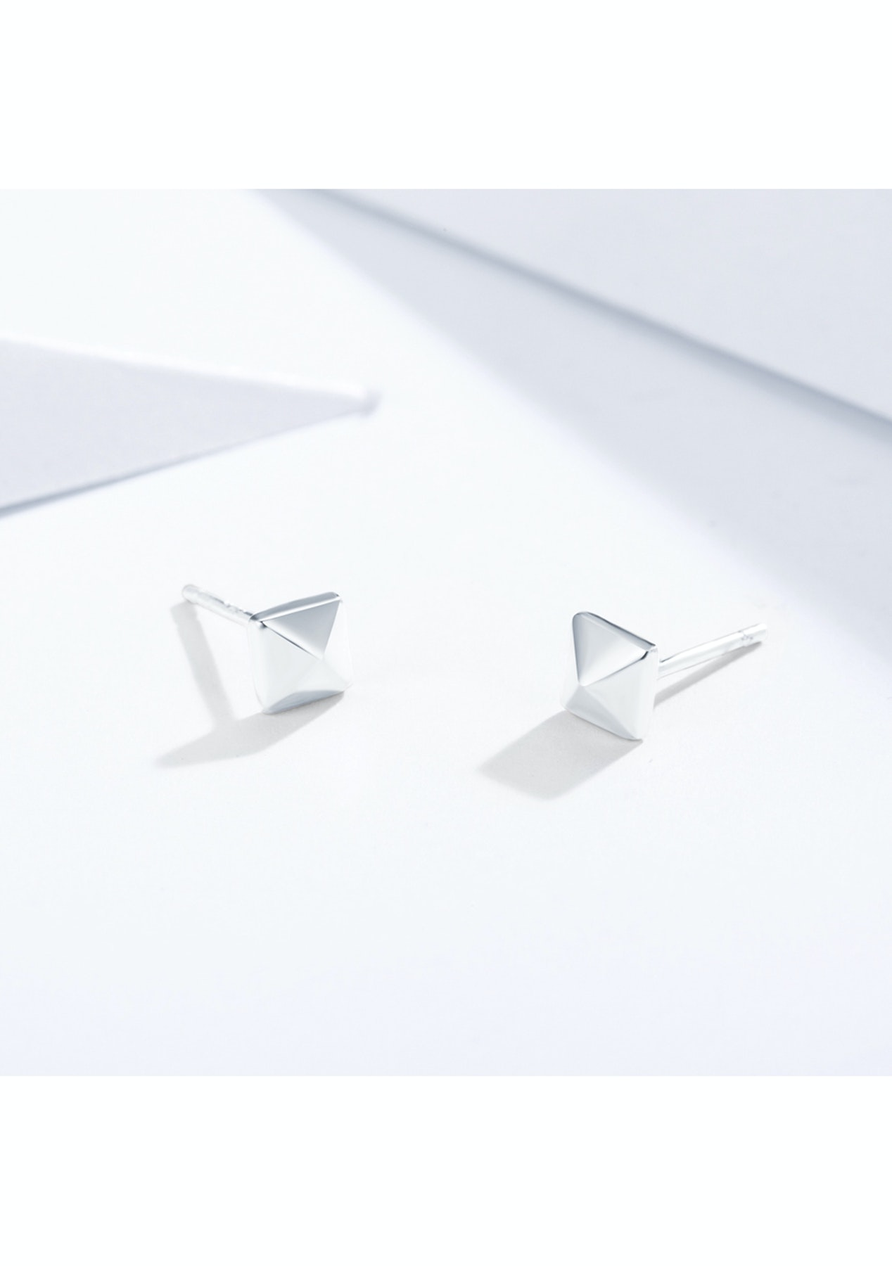afae64c01 Square Pyramid Stud Earrings In Sterling Silver Rhodium Plated - My  Jewellery Store - Onceit
