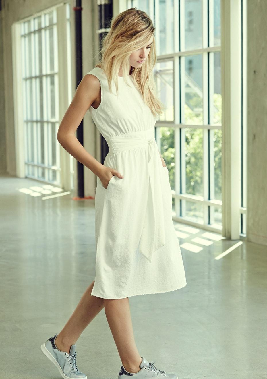 Achro - Wide Belted Dress - White