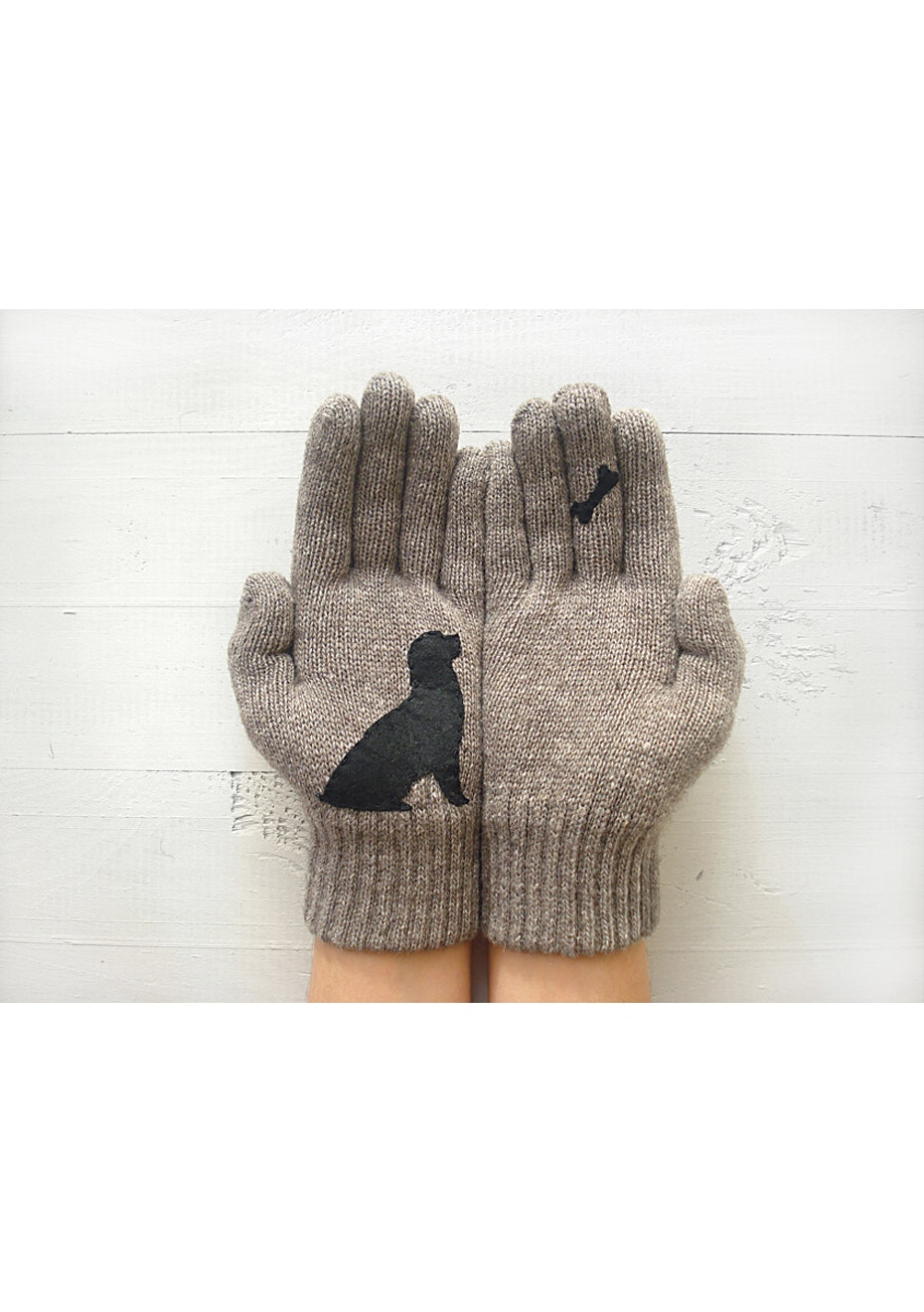 Dog & Bone Gloves - Taupe/Black