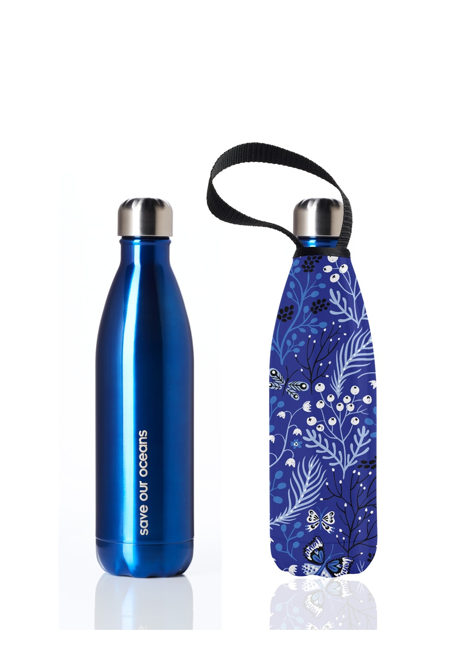 BBBYO - Future Bottle+ Carry Cover (Frond Print) - 500 ml Blue