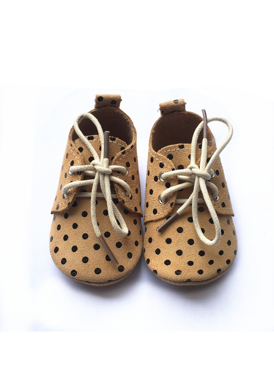 Baby  Leather Shoes - Dust / Black Polka Dot