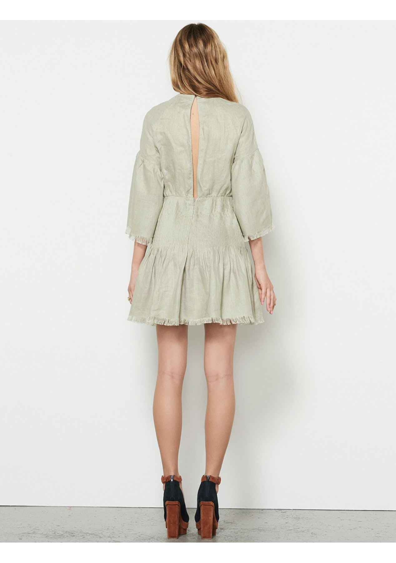 5e56d2b210 Stevie May - Castello Linen Mini Dress - Sage - Stevie May