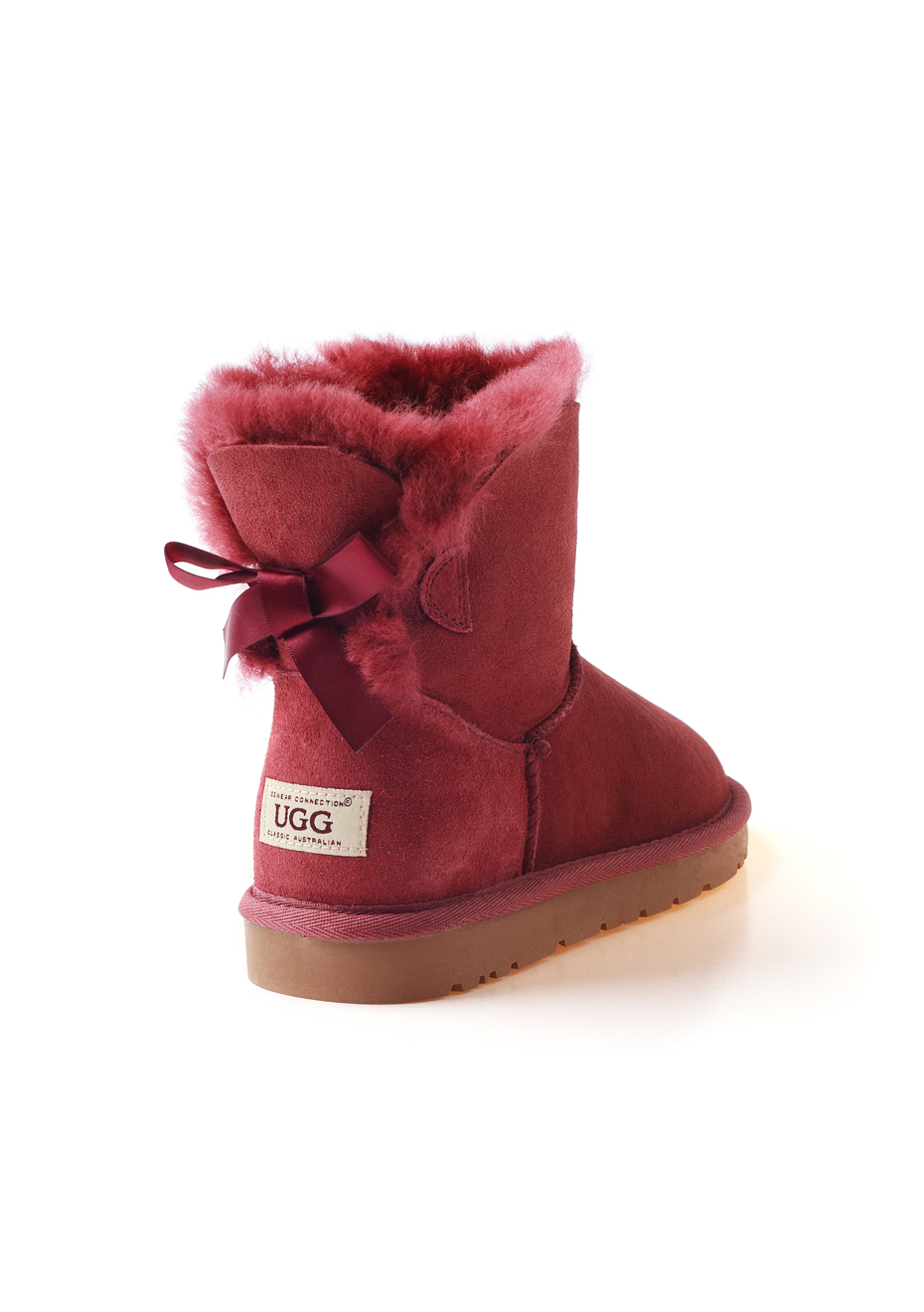 Ozwear - Ugg Classic 1 Ribbon Boots (Water Resistant) - Red Plum - Ozwear Uggs up to 58% - Onceit