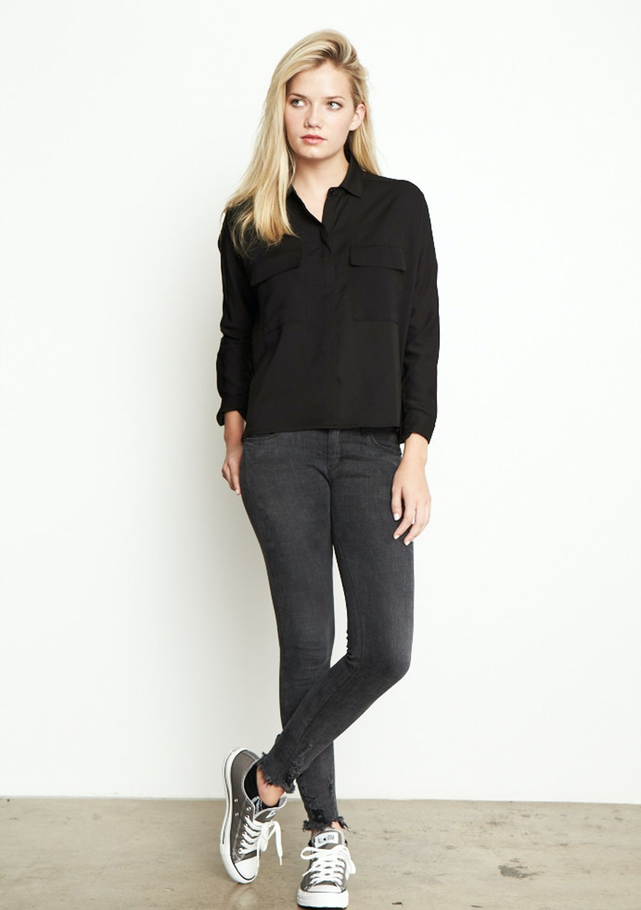 Achro - Long Sleeve, Boxy Shirt  - Black