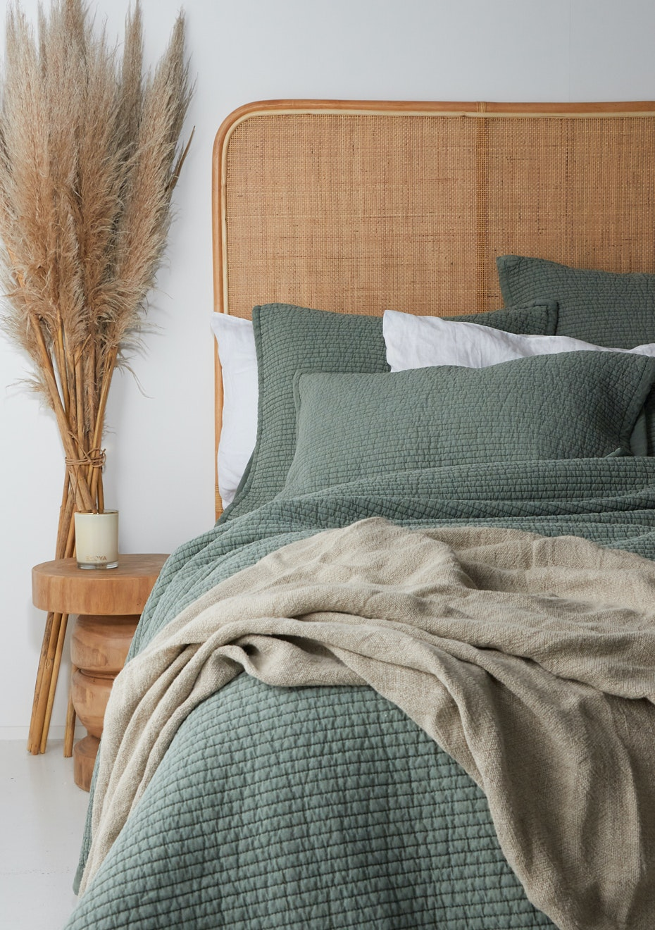 Quilted Vintage Linen Cotton Duvet Set Queen Khaki New Season Quilted Vintage Washed Duvet Cover Sets Onceit