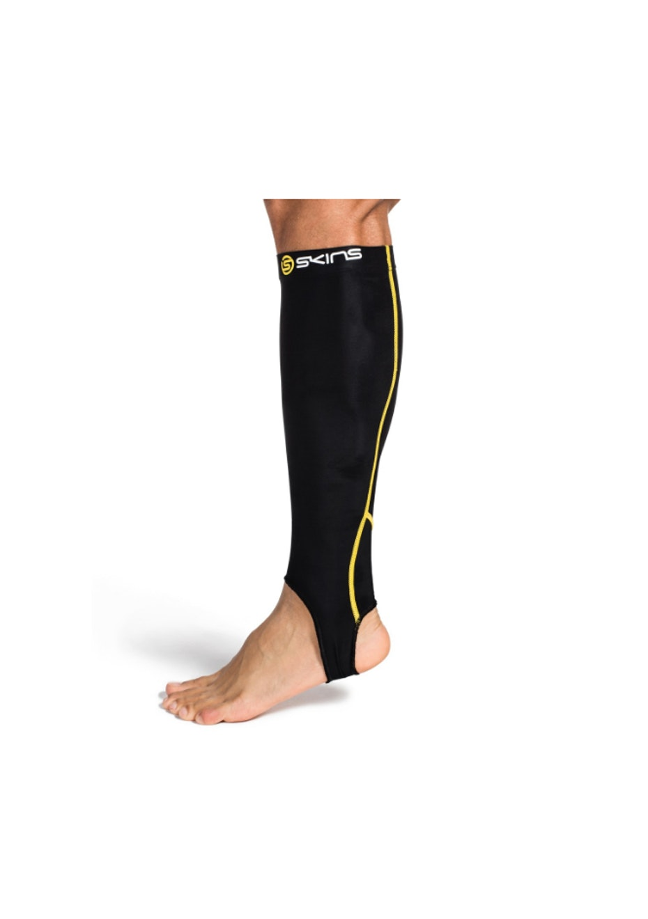 Skins - Mens  -  Essentials Calf Tight Black/Yellow With Stirrup