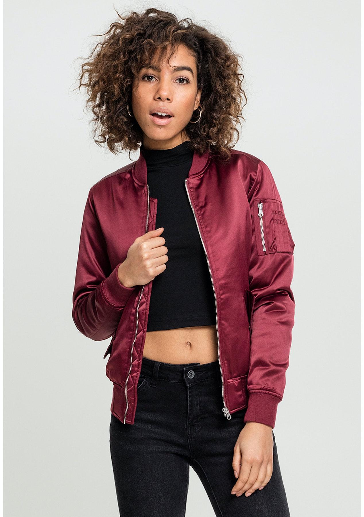 882876c2 Urban Classics - Womens Satin Bomber Jacket - Burgundy - The Streetwear  Edit - Onceit