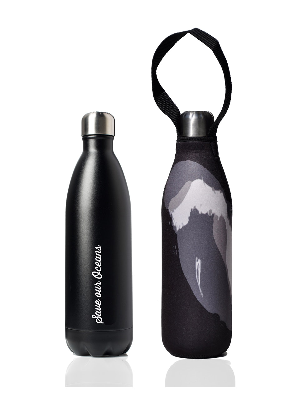 BBBYO - Future Bottle+ Carry Cover (Black Wave Print)- 750 ml Matt Black