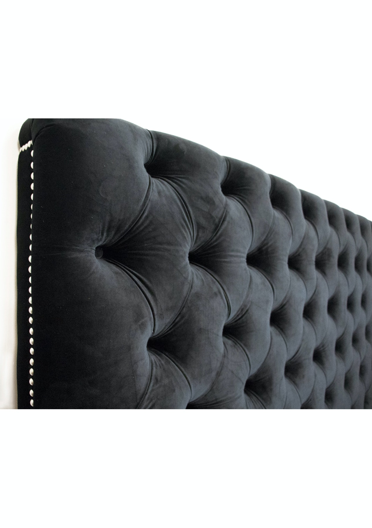 Velvet Headboard King Black Premium Headboards Ottomans Pre Onceit