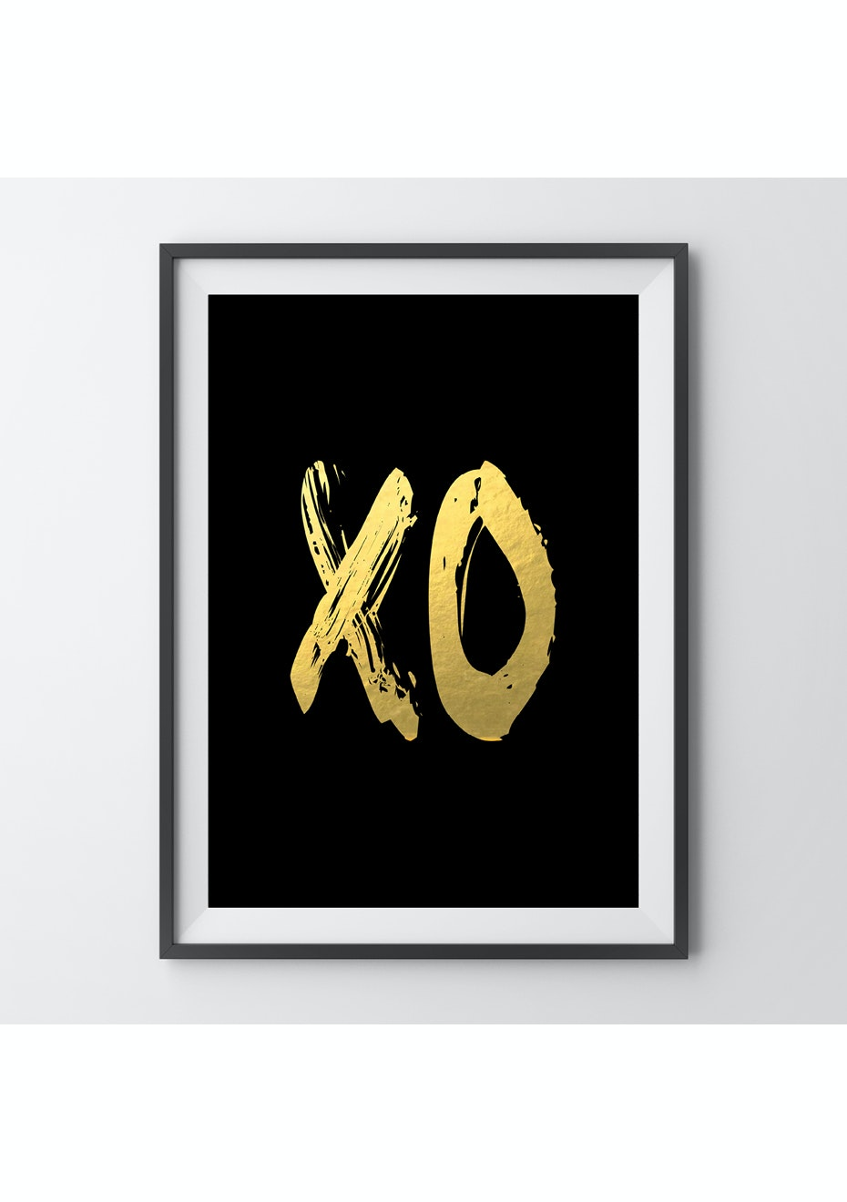 Simply Creative - Xo Black - A4 Gold Foil Print